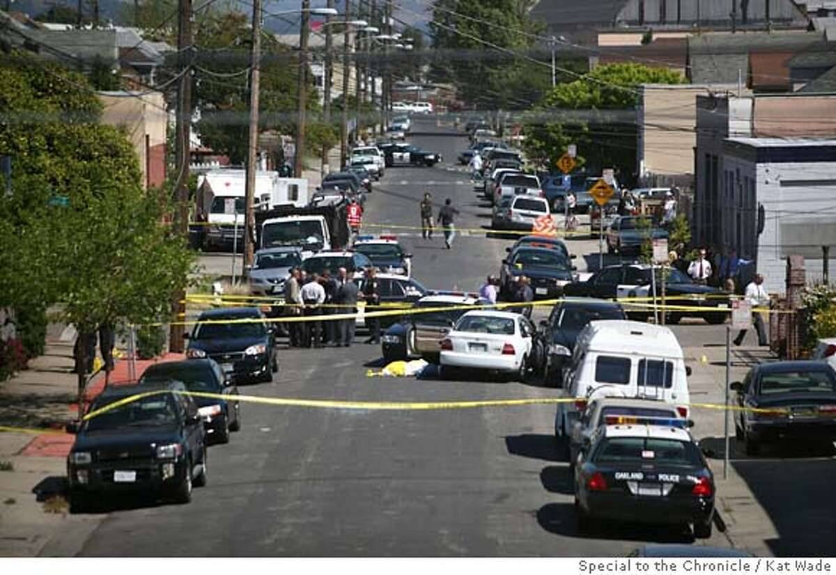 The scene where Oakland police shot and killed a suspect at 29th Avenue and East 7th Street in Oakland, Calif. on Saturday, April 26, 2008. Photo by Kat Wade / Special to the Chronicle
