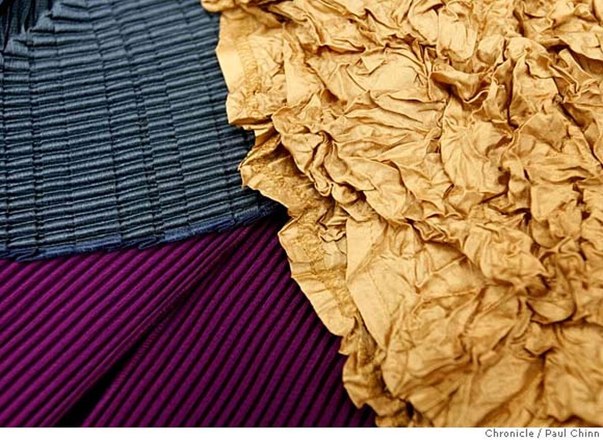 ###Live Caption:Examples of various pleated fabrics are displayed at Babette, Inc. in Oakland, Calif., on Thursday, March 27, 2008. Photo by Paul Chinn / San Francisco Chronicle###Caption History:Examples of various pleated fabrics are displayed at Babette, Inc. in Oakland, Calif., on Thursday, March 27, 2008. Photo by Paul Chinn / San Francisco Chronicle###Notes:###Special Instructions:MANDATORY CREDIT FOR PHOTOGRAPHER AND S.F. CHRONICLE/NO SALES - MAGS OUT