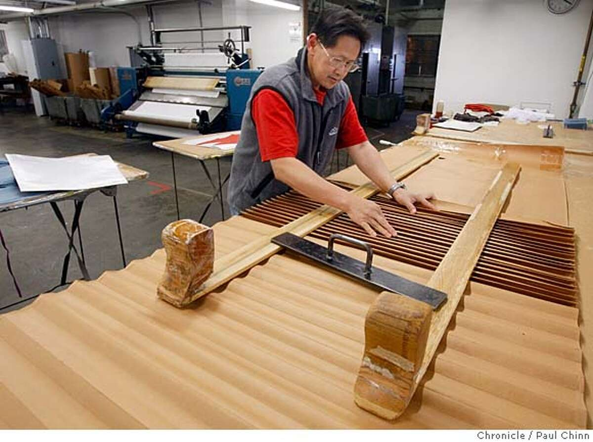###Live Caption:Ming Yu creates a pleated pattern in a fabric using a technique used in ancient Egyptian times at Babette, Inc. in Oakland, Calif., on Thursday, March 27, 2008. Photo by Paul Chinn / San Francisco Chronicle###Caption History:Ming Yu creates a pleated pattern in a fabric using a technique used in ancient Egyptian times at Babette, Inc. in Oakland, Calif., on Thursday, March 27, 2008. Photo by Paul Chinn / San Francisco Chronicle###Notes:Ming Yu###Special Instructions:MANDATORY CREDIT FOR PHOTOGRAPHER AND S.F. CHRONICLE/NO SALES - MAGS OUT