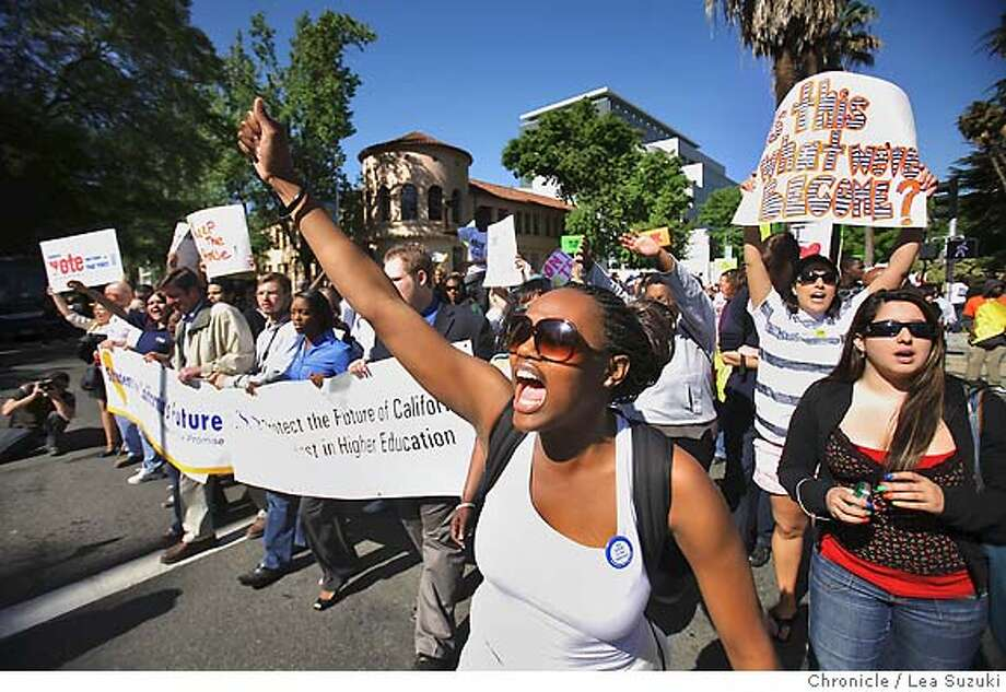 Chiyumba Ossome, 19, of Sacramento State University, chants with other protesters on Monday, April 21, 2008 during the march to the Capitol Building. Approximately 1,000 college students from around the state marched to the Capitol building from Raley Field in protest of proposed budget cuts to higher education in Sacramento, Calif. Photo By Lea Suzuki/ San Francisco Chronicle Photo: Lea Suzuki