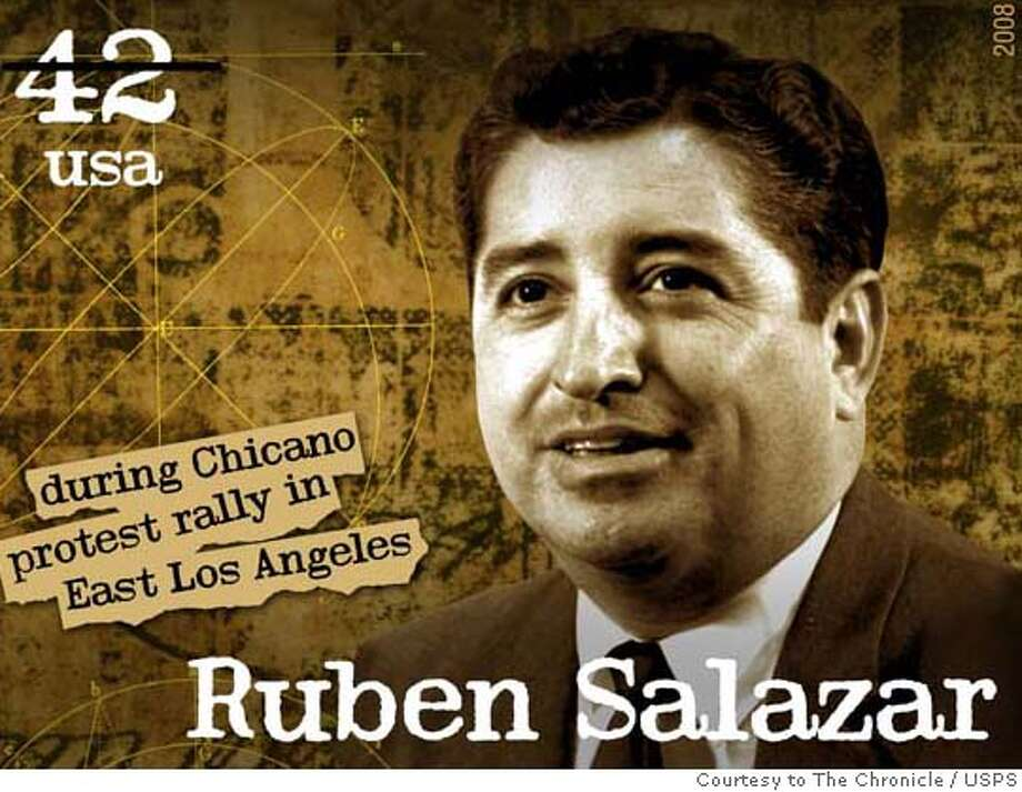 ###Live Caption:Pioneering Mexican American journalist Ruben Salazar, who was killed by a police projectile while covering the Chicano Moratorium against the Vietnam war in 1970, will be honored with a U.S. postage stamp on April 22, 2008.  Photo Courtesy © 2007 USPS. All Rights Reserved.###Caption History:Pioneering Mexican American journalist Ruben Salazar, who was killed by a police projectile while covering the Chicano Moratorium against the Vietnam war in 1970, will be honored with a U.S. postage stamp on April 22, 2008.  Photo Courtesy � 2007 USPS. All Rights Reserved.###Notes:###Special Instructions:Must use this credit: � 2007 USPS. All Rights Reserved. Stamp Image must be displayed in full color (if the publication is in color) and must be reproduced in its entirety without any additions or deletions. If the stamp Image is reproduced within 75-1 Photo: USPS