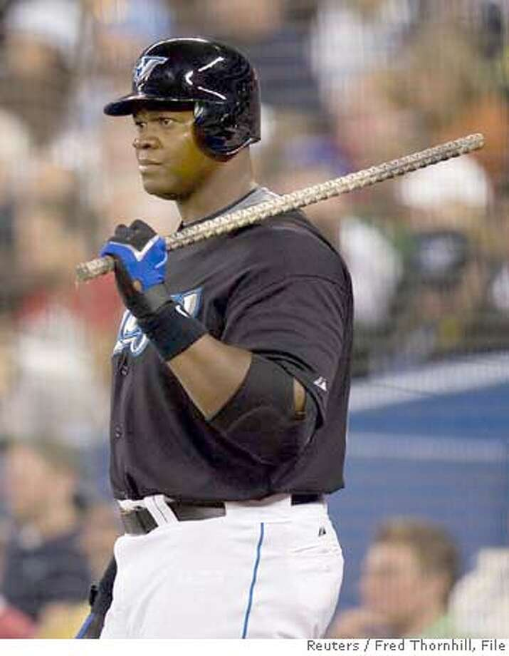###Live Caption:Toronto Blue Jays Frank Thomas is seen in the on deck circle during their game against the Boston Red Sox in this April 5, 2008 file photo. After being benched yesterday, the Jays' starting designated hitter Thomas was released from the club on April 20, 2008. REUTERS/Fred Thornhill (CANADA)###Caption History:Toronto Blue Jays Frank Thomas is seen in the on deck circle during their game against the Boston Red Sox in this April 5, 2008 file photo. After being benched yesterday, the Jays' starting designated hitter Thomas was released from the club on April 20, 2008. REUTERS/Fred Thornhill (CANADA)###Notes:File photo of Blue Jays' Thomas###Special Instructions: Photo: FRED THORNHILL