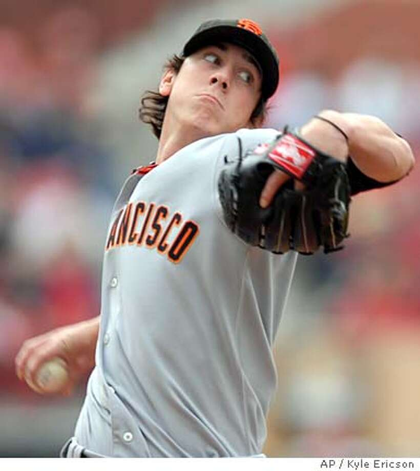San Francisco Giants' Tim Lincecum pitches in the first inning against the St. Louis Cardinals during their baseball game Saturday, April 19, 2008, in St. Louis. Lincecum pitched seven innings and was the winning pitcher in the Giants 3-0 victory over the Cardinals. (AP Photo/Kyle Ericson) Photo: Kyle Ericson