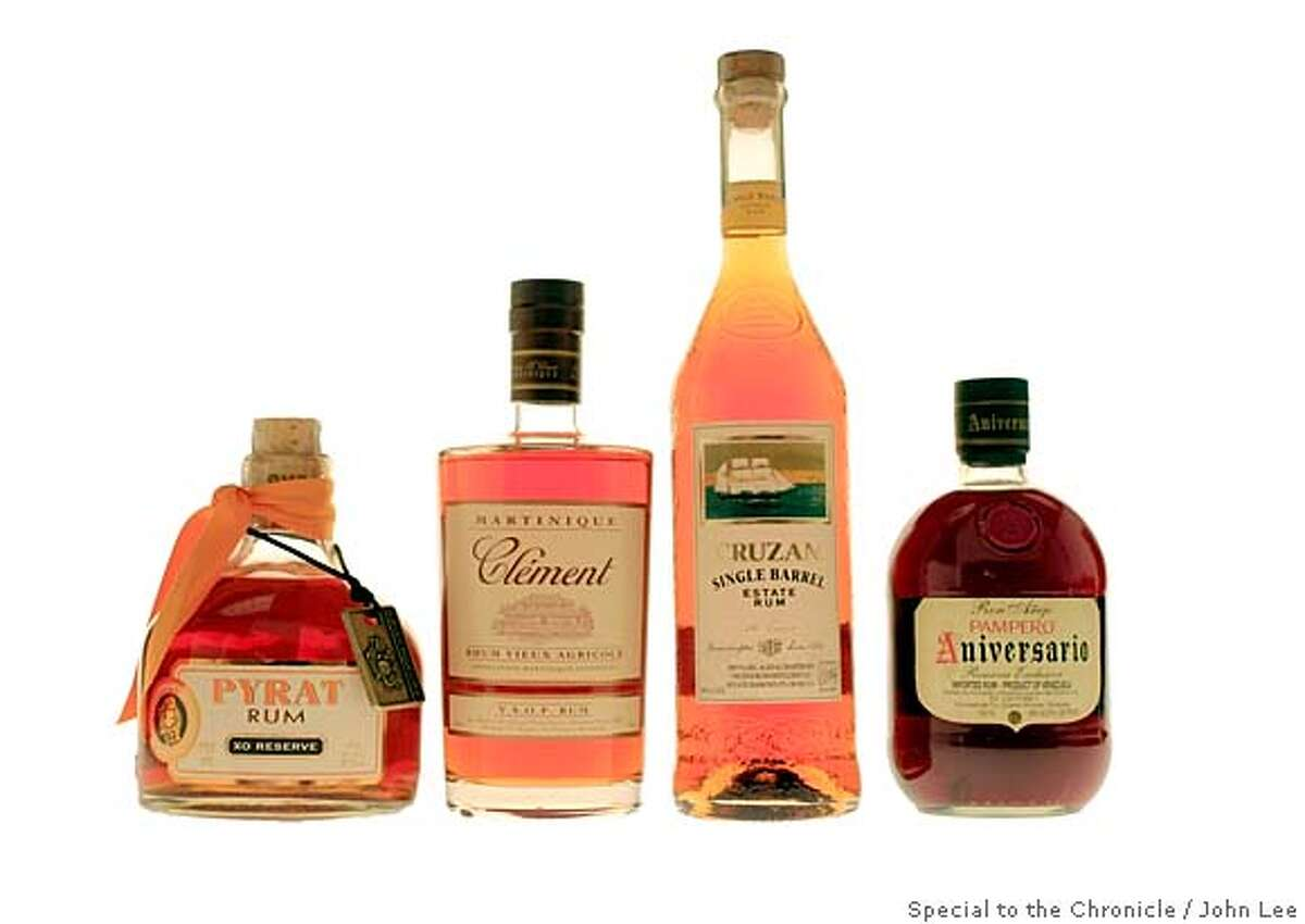 ###Live Caption:RUM25_08_JOHNLEE.JPG APRIL 18, 2008: Pyrat Rum, Martinique Clement Rum, Cruzan Single Barrel Rum, Ron Anejo Pampero Aniversario Rum. BY JOHN LEE / SPECIAL TO THE CHRONICLE###Caption History:RUM25_08_JOHNLEE.JPG APRIL 18, 2008: Pyrat Rum, Martinique Clement Rum, Cruzan Single Barrel Rum, Ron Anejo Pampero Aniversario Rum. BY JOHN LEE / SPECIAL TO THE CHRONICLE###Notes:###Special Instructions: