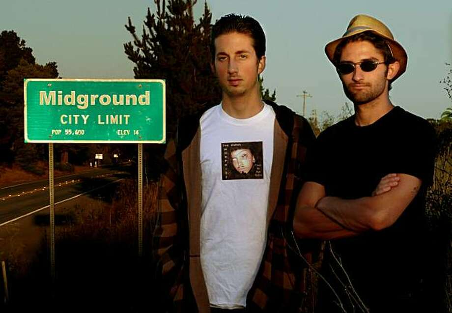 "Filmmakers Jordan Graham, left and Tervor Adrian, right (in hat) at the city limits of ""Midground."" Photo: Courtesy Dogman LLC"