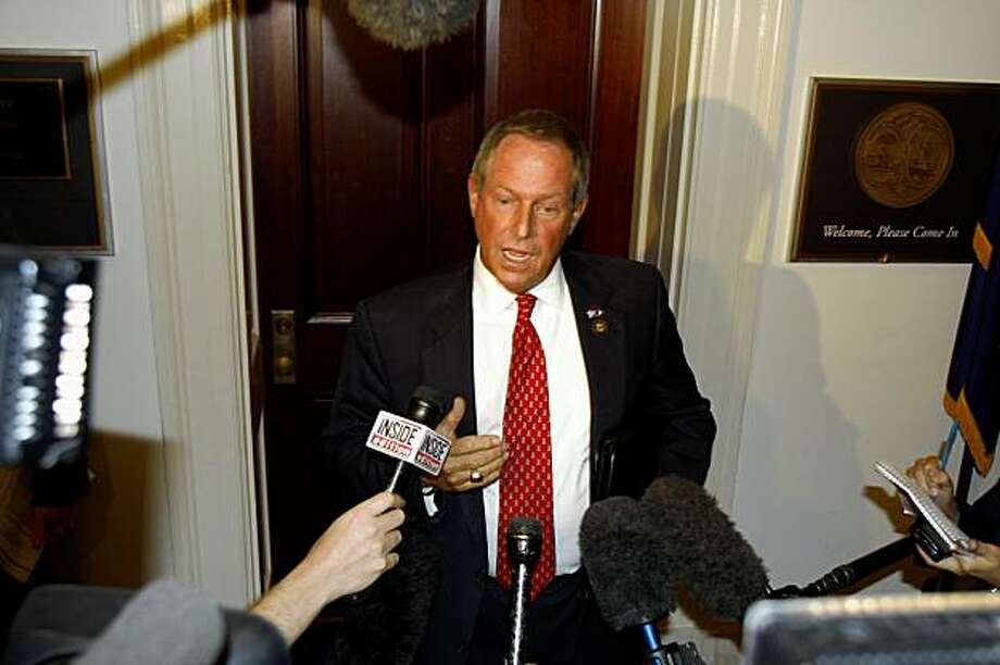 Rep. Joe Wilson, R-S.C. speaks to reporters outside of his office on Capitol Hill in Washington, Thursday, Sept. 10, 2009. (AP Photo/Harry Hamburg) Photo: Harry Hamburg, AP