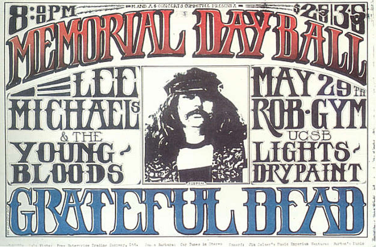 "Grateful Dead Memorial Day Ball poster featuring Ron ""Pigpen"" McKernan. Robertson Gym. UCSB, Santa Barbara May 29, 1969"