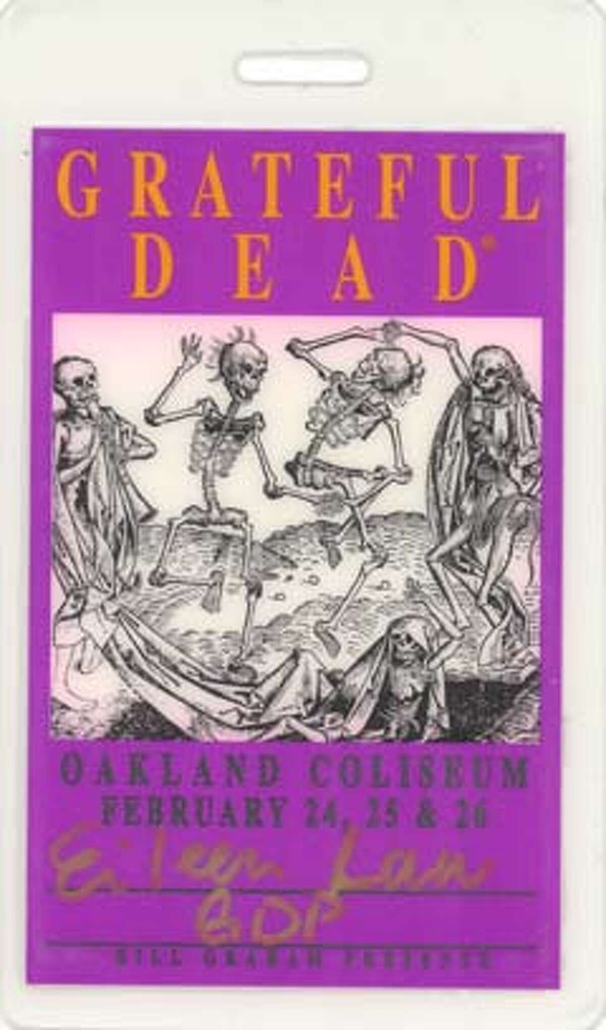 A pass for the Feb. 24, 1995, Oakland Coliseum Grateful Dead concert. Photo courtesy of Grateful Dead archive