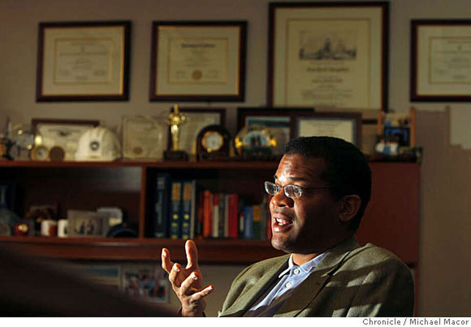 """Dr. Tony Iton, head of the Alameda County Health Services, in his downtown Oakland, Calif., office on March 19, 2008. He is part of a PBS special coming out next week called """"Unnatural Causes"""". Dr. Iton believes whether or not an individual has health care insurance is far less a predictor of long-term health that many other factors, particularly education. Photo by Michael Macor/ San Francisco Chronicle Ran on: 04-18-2008  Dr. Tony Iton, Alameda County public health director, says the report's &quo;data are overwhelming.&quo;  Ran on: 04-18-2008  Dr. Tony Iton, Alameda County public health director, says the report's &quo;data are overwhelming.&quo; Photo: Michael Macor"""
