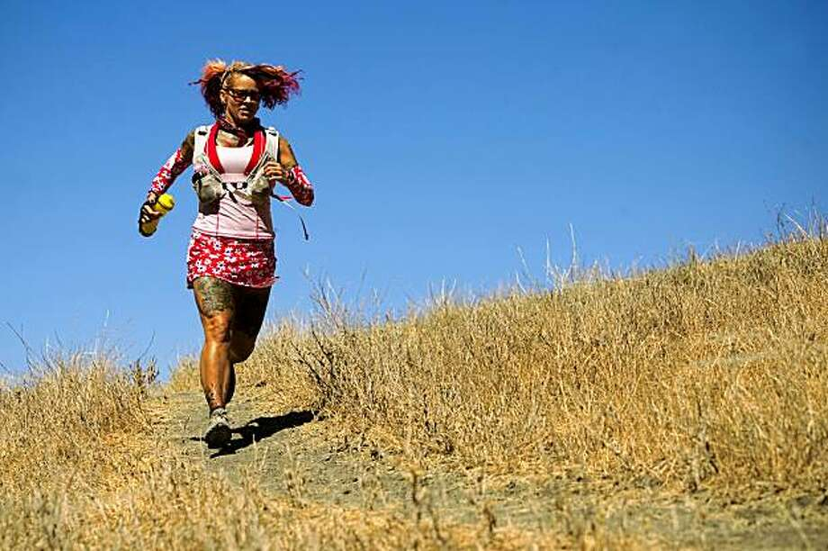 Catra Corbett, 44 a fastpacker trains on the Mission Peak Trail August 27, 2009 in Fremont, Calif. Photo: David Paul Morris, The Chronicle