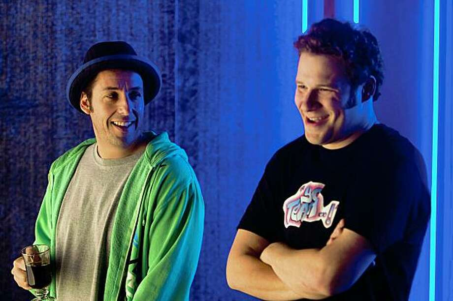 "(L to R) George (ADAM SANDLER) and Ira (SETH ROGEN) in writer/director Judd Apatow's third film behind the camera, ""Funny People"", the story of a famous comedian who has a near-death experience. Photo: Tracy Bennett, Universal Pictures"
