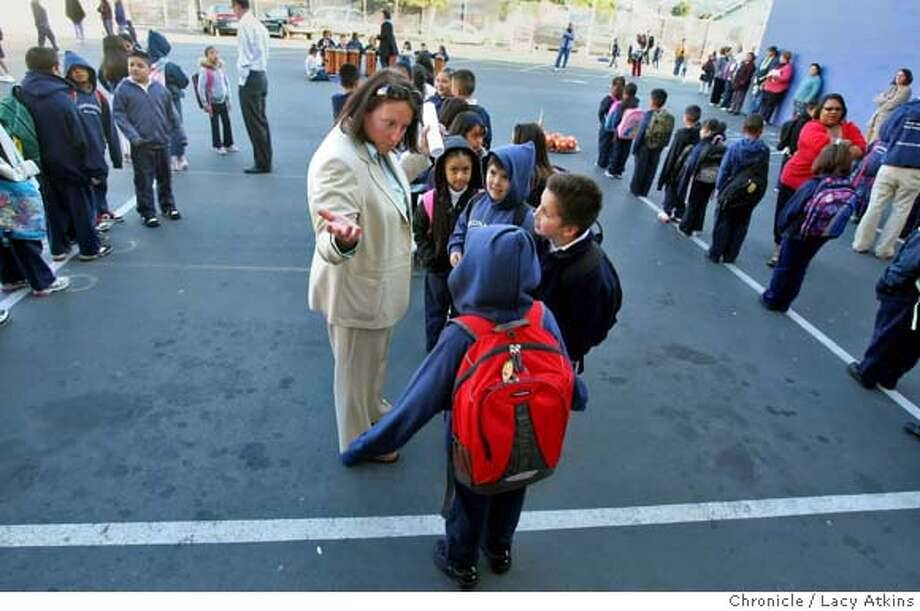 ###Live Caption:Monarch Academy Principal Tatiana Epanchin talks with the students as they line up for the morning greeting, Monday April 7, 2008, in Oakland, Calif.  Lacy Atkins / San Francisco Chronicle###Caption History:Monarch Academy Principal Tatiana Epanchin talks with the students as they line up for the morning greeting, Monday April 7, 2008, in Oakland, Calif.  Lacy Atkins / San Francisco Chronicle###Notes:###Special Instructions:MANDATORY CREDIT FOR PHOTOG AND SAN FRANCISCO CHRONICLE/NO SALES MAGS OUT Photo: Lacy Atkins