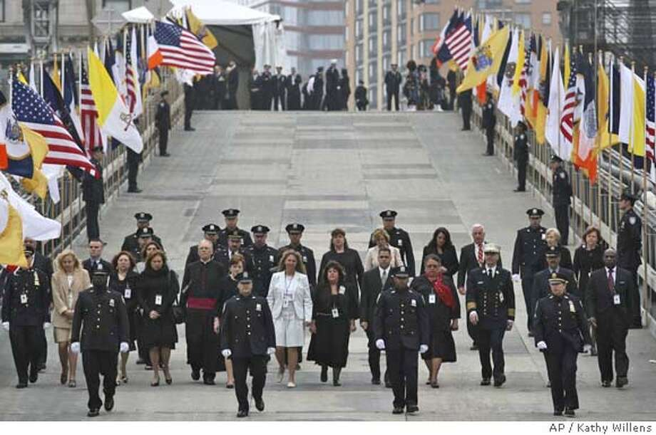 ###Live Caption:World Trade center attacks victim's families, survivors and first responders arrive for a ceremony where they met with Pope Benedict XVI at ground zero in New York, Sunday, April 20, 2008. (AP Photo/Kathy Willens, Pool)###Caption History:World Trade center attacks victim's families, survivors and first responders arrive for a ceremony where they met with Pope Benedict XVI at ground zero in New York, Sunday, April 20, 2008. (AP Photo/Kathy Willens, Pool)###Notes:###Special Instructions: Photo: Kathy Willens