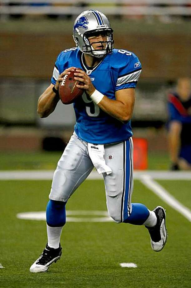 DETROIT, MI - AUGUST 28: Quarterback Matthew Stafford #9 of the Detroit Lions drops back to pass the football against the Indianapolis Colts at Ford Field on August 28, 2009 in Detroit, Michigan.  (Photo by Scott Boehm/Getty Images) Photo: Scott Boehm, Getty Images