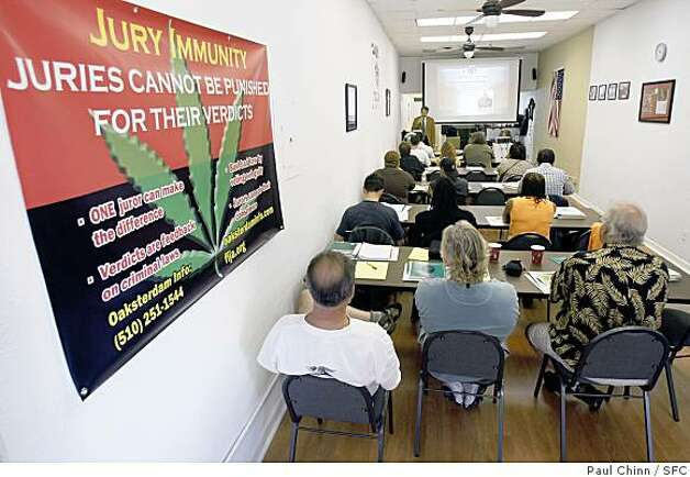 Students attend the opening class of the Oaksterdam University marijuana-growing education program in Oakland, Calif., on Saturday, April 12, 2008. The curriculum covers legal and horticultural issues for people interested in operating medicinal pot clubs. Photo by Paul Chinn / San Francisco Chronicle Photo: Paul Chinn, SFC