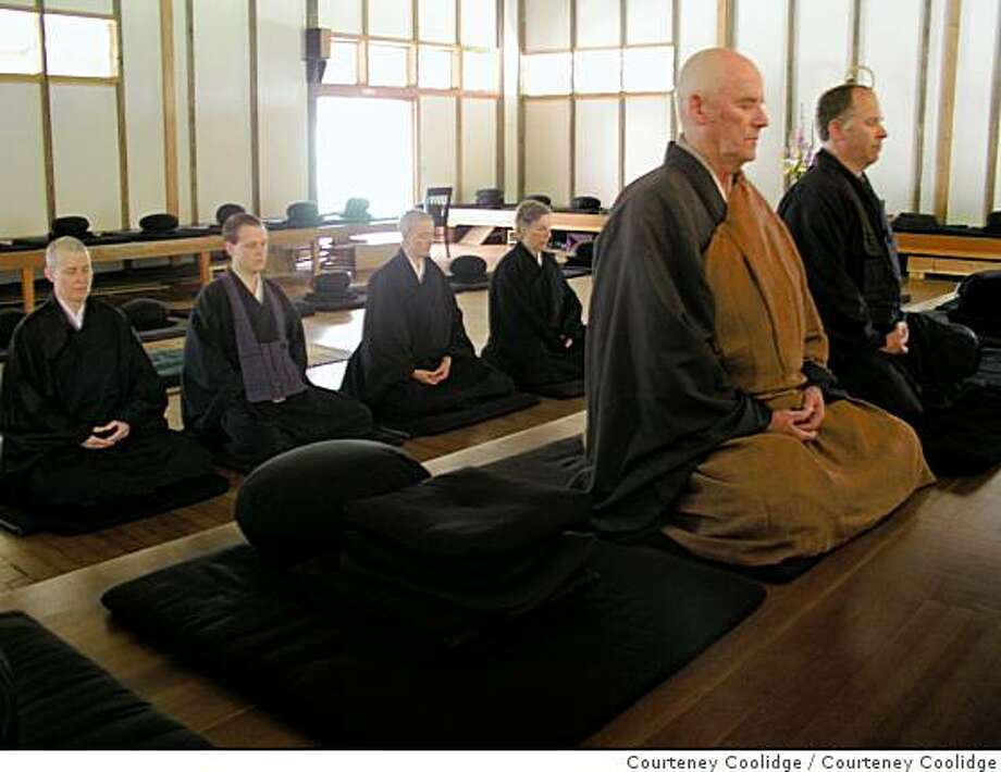Buddhist meditation in the Zendo, Green Gulch Zen Center and Farm, 1601 Shoreline Highway, near Muir Beach, Cailf. Photo by Courteney Coolidge Photo: Courteney Coolidge