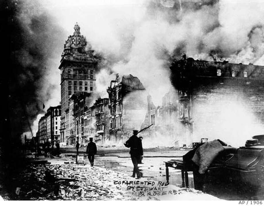 ###Live Caption:** FOR USE ANY TIME WITH 1906 EARTHQUAKE ANNIVERSARY STORIES-FILE ** In this photo released by the Bancroft Library, fires rage out of control in San Francisco following the massive earthquake Wednesday, April 18, 1906. The quake measured 8.3 on the Richter scale igniting fires that proved far more disastrous. (AP Photo/Bancroft Library) ** NO SALES **Ran on: 04-18-2006 The Embarcadero. Where horse-drawn carriages once were the rule, near right, today cars and pedestrians rush by, second from right. The Ferry Building can be seen on the left in both photos.###Caption History:** FOR USE ANY TIME WITH 1906 EARTHQUAKE ANNIVERSARY STORIES-FILE ** In this photo released by the Bancroft Library, fires rage out of control in San Francisco following the massive earthquake Wednesday, April 18, 1906. The quake measured 8.3 on the Richter scale igniting fires that proved far more disastrous. (AP Photo/Bancroft Library) ** NO SALES **Ran on: 04-18-2006  The Embarcadero. Where horse-drawn carriages once were the rule, near right, today cars and pedestrians rush by, second from right. The Ferry Building can be seen on the left in both photos.###Notes:###Special Instructions:ADVANCE FOR WEEKEND EDITIONS, APRIL 15-16. PHOTO RELEASED BY THE BANCROFT LIBRARY NO SALES Photo: AP