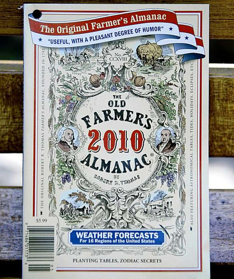 A Sept. 1, 2009 photo shows a copy of the 2010 edition of The Old Farmer's Almanac in Boston. The venerable almanac's 2010 edition, which goes on sale Tuesday, Sept. 8, 2009, says numbing cold will predominate in the country's midsection, from the Rocky Mountains in the West to the Appalachians in the East. (AP Photo/Bizuayehu Tesfaye) Photo: Bizuayehu Tesfaye, AP
