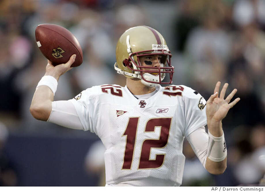 ** FOR USE AS DESIRED WITH 2008 NFL DRAFT STORIES **FILE ** In this Oct. 13, 2007 file photo, Boston College quarterback Matt Ryan (12) throws a pass during the third quarter of a college football game against Notre Dame in South Bend, Ind. Ryan is a top prospect in the 2008 NFL Draft. (AP Photo/Darron Cummings, File) Photo: Darron Cummings