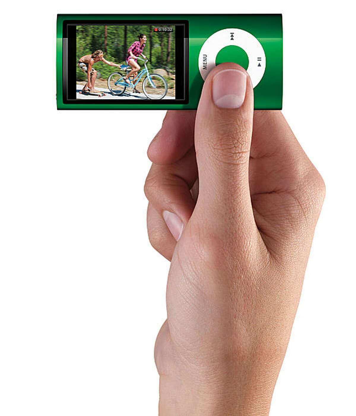 product shot of apple computer's newest ipod nano that shoots video.