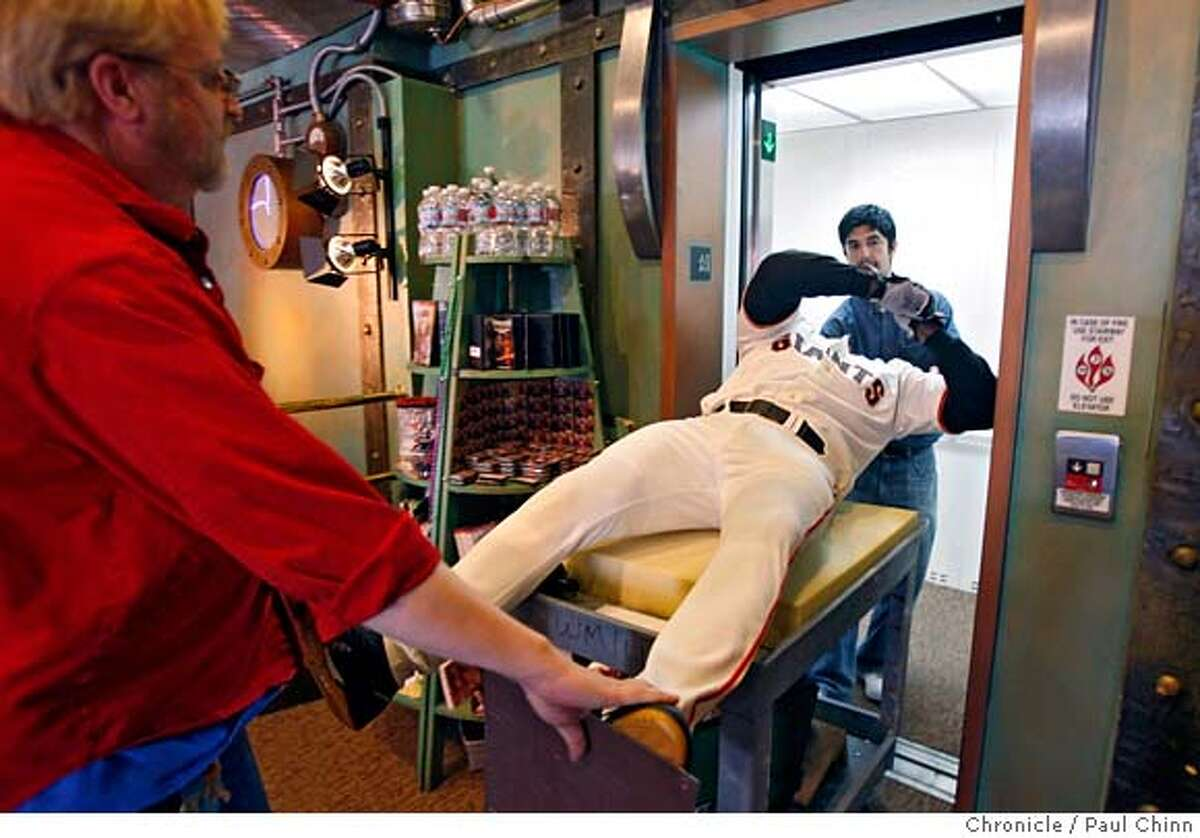 ###Live Caption:Curtis Huber, left, and Eric Valencia load a Barry Bonds figure into an elevator at the Wax Museum in San Francisco, Calif., on Wednesday, April 16, 2008. The Fisherman's Wharf landmark celebrates its 45th anniversary this year. Photo by Paul Chinn / San Francisco Chronicle###Caption History:Curtis Huber, left, and Eric Valencia load a Barry Bonds figure into an elevator at the Wax Museum in San Francisco, Calif., on Wednesday, April 16, 2008. The Fisherman's Wharf landmark celebrates its 45th anniversary this year. Photo by Paul Chinn / San Francisco Chronicle###Notes:Curtis Huber, Eric Valencia###Special Instructions:MANDATORY CREDIT FOR PHOTOGRAPHER AND S.F. CHRONICLE/NO SALES - MAGS OUT