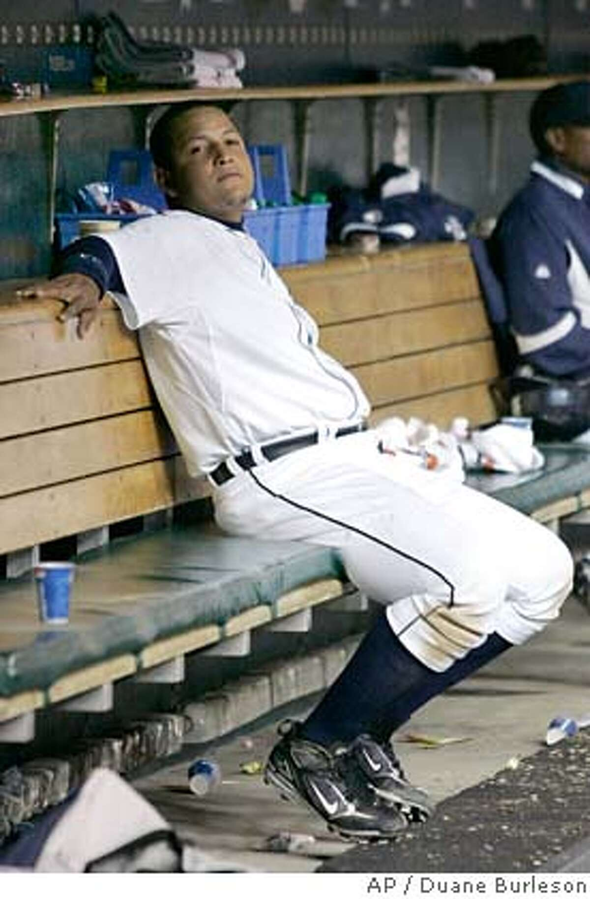 ###Live Caption:Detroit Tigers' Miguel Cabrera sits on the bench in the ninth inning of Detroit's 13-2 loss to the Chicago White Sox in a baseball game Sunday, April 6, 2008, in Detroit. (AP Photo/Duane Burleson)###Caption History:Detroit Tigers' Miguel Cabrera sits on the bench in the ninth inning of Detroit's 13-2 loss to the Chicago White Sox in a baseball game Sunday, April 6, 2008, in Detroit. (AP Photo/Duane Burleson)###Notes:Miguel Cabrera###Special Instructions:EFE OUT