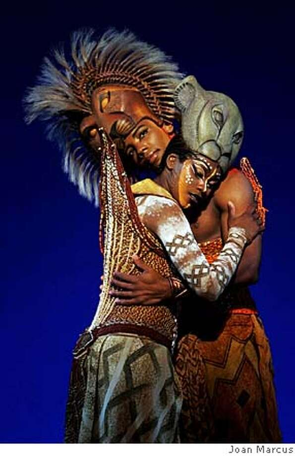 ###Live Caption:Ran on: 01-15-2006 Wallace Smith and Ta'Rea Campbell in American Theater of San Jose's &quo;The Lion King&quo; at the San Jose Center for Performing Arts, opening this week. ALSO Ran on: 11-12-2006 &quo;The Lion King&quo; started as a successful animated feature for Disney in 1994, inset; it has since become a successful Broadway musical, above.###Caption History:theater15_PH3.jpg Wallace Smith & Ta'Rea Campbell in Disney�s THE LION KING. Photo credit: Joan Marcus, 2005 Ran on: 01-15-2006  Wallace Smith and Ta'Rea Campbell in American Theater of San Jose's &quo;The Lion King&quo; at the San Jose Center for Performing Arts, opening this week.  ALSO Ran on: 11-12-2006  &quo;The Lion King&quo; started as a successful animated feature for Disney in 1994, inset; it has since become a successful Broadway musical, above.###Notes:###Special Instructions: Photo: Photo Credit: Joan Marcus