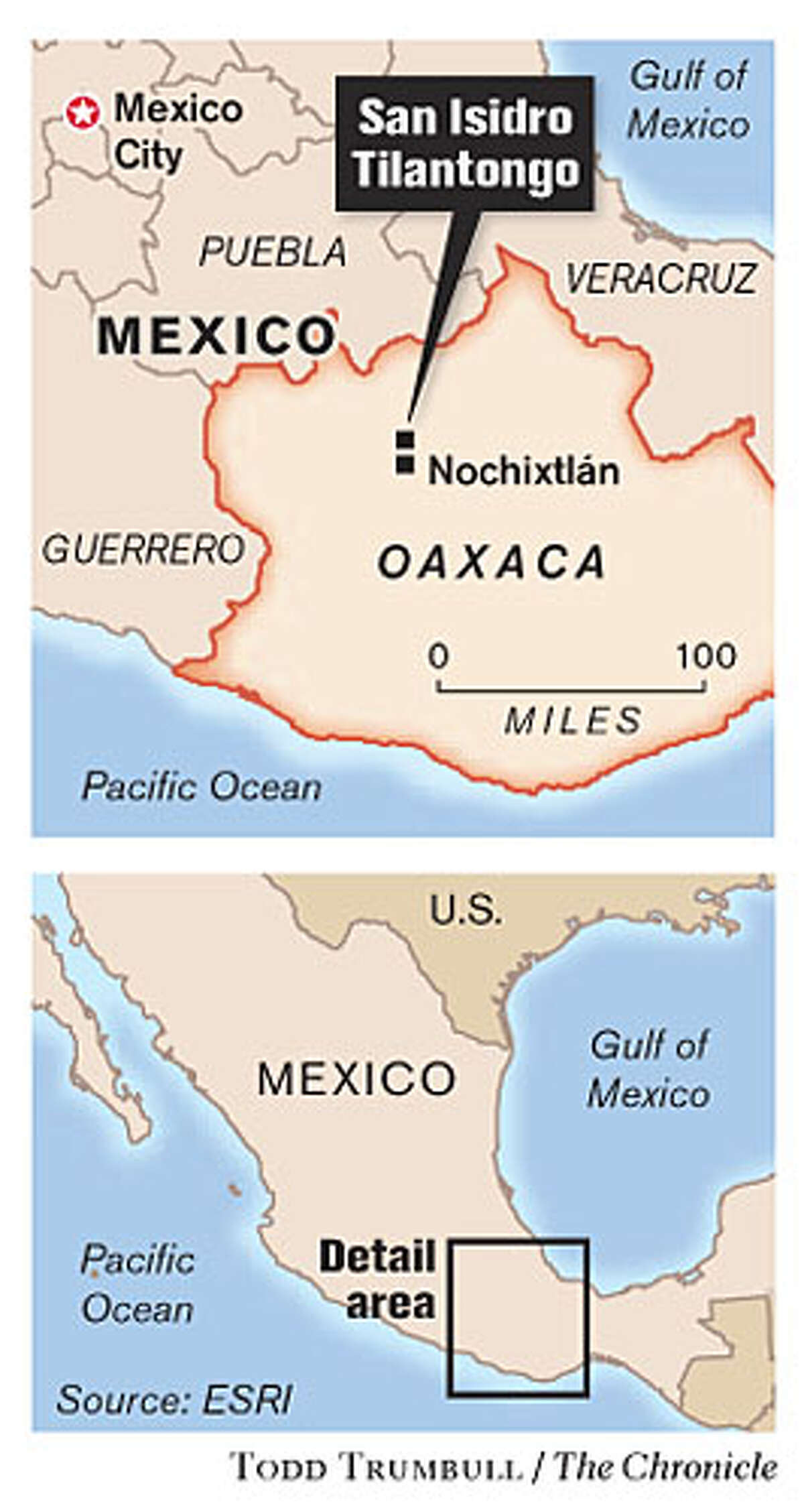 Oaxaca, Mexico. Chronicle graphic by Todd Trumbull