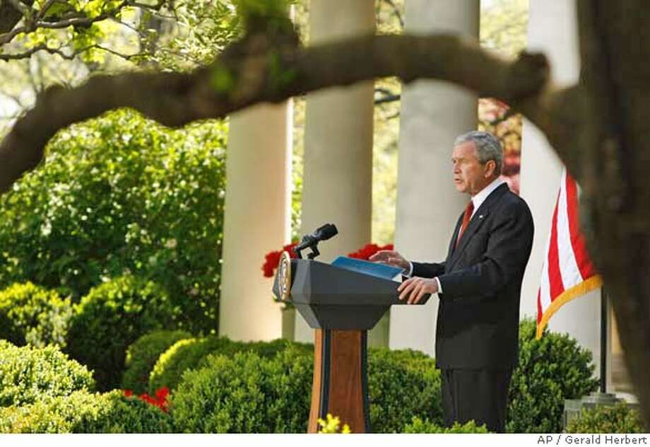 ###Live Caption:President Bush makes remarks on the climate, Wednesday, April 16, 2008, in the Rose Garden of the White House in Washington. (AP Photo/Gerald Herbert)###Caption History:President Bush makes remarks on the climate, Wednesday, April 16, 2008, in the Rose Garden of the White House in Washington. (AP Photo/Gerald Herbert)###Notes:George W. Bush###Special Instructions: Photo: Gerald Herbert
