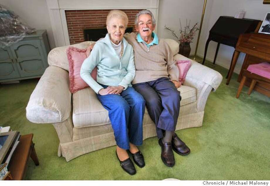 Julie and Bob Galiata of Redwood City, Calif. are photographed on their couch on March 20. 2008. They met 64 years ago in San Francisco. Photo by Michael Maloney / San Francisco Chronicle Photo: Michael Maloney