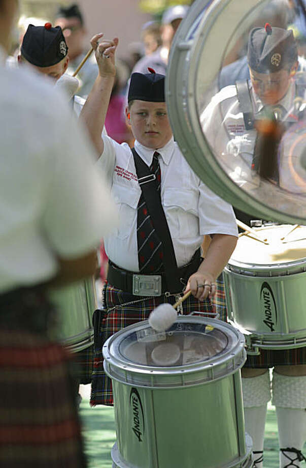 A junior member of the Prince Charles Caledonian Club Pipe Band at the Scottish Highland Gathering and Games in Pleasanton. Photo: Caledonian Club Of San Francisco