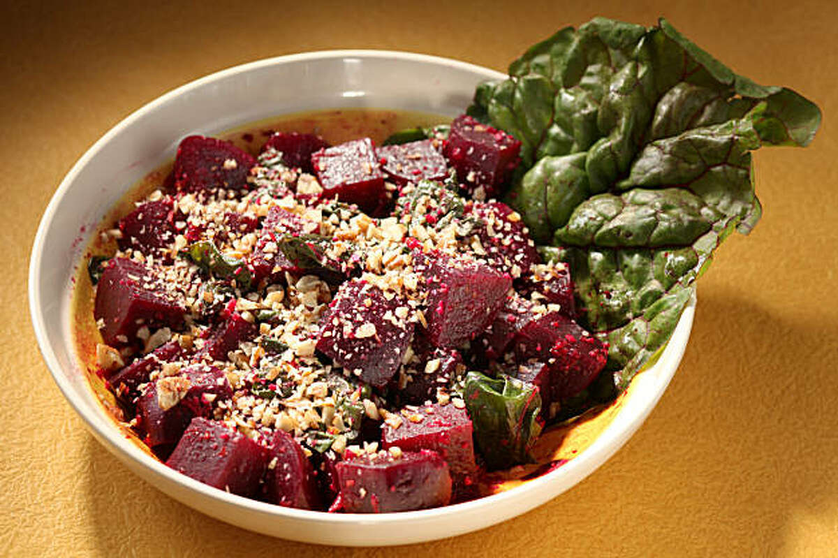 Beet salad with ginger, pecans and orange zest in San Francisco, Calif., on August 19, 2009. Food styled by Rose Amoroso.
