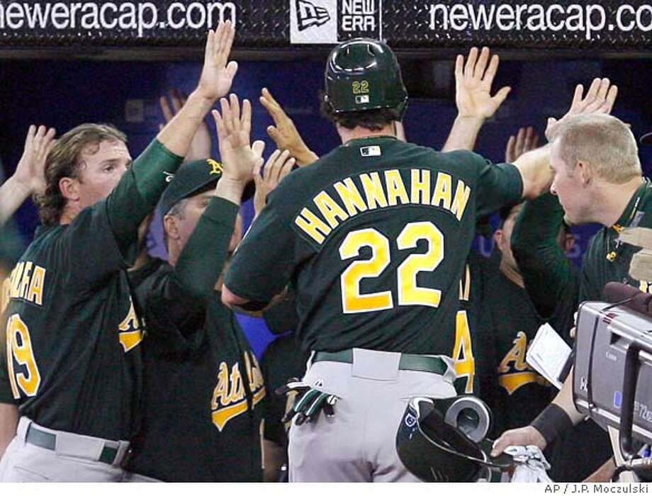 ###Live Caption:Oakland Athletics congratulate Jack Hannahan after he scored on a two-run double by Travis Buck during the 12th inning of a baseball game against the Toronto Blue Jays in Toronto, Thursday, April 10, 2008. The Athletics won 3-2. (AP Photo/The Canadian Press, J.P. Moczulski)###Caption History:Oakland Athletics congratulate Jack Hannahan after he scored on a two-run double by Travis Buck during the 12th inning of a baseball game against the Toronto Blue Jays in Toronto, Thursday, April 10, 2008. The Athletics won 3-2. (AP Photo/The Canadian Press, J.P. Moczulski)###Notes:Jack Hannahan###Special Instructions:EFE OUT Photo: J.P. Moczulski