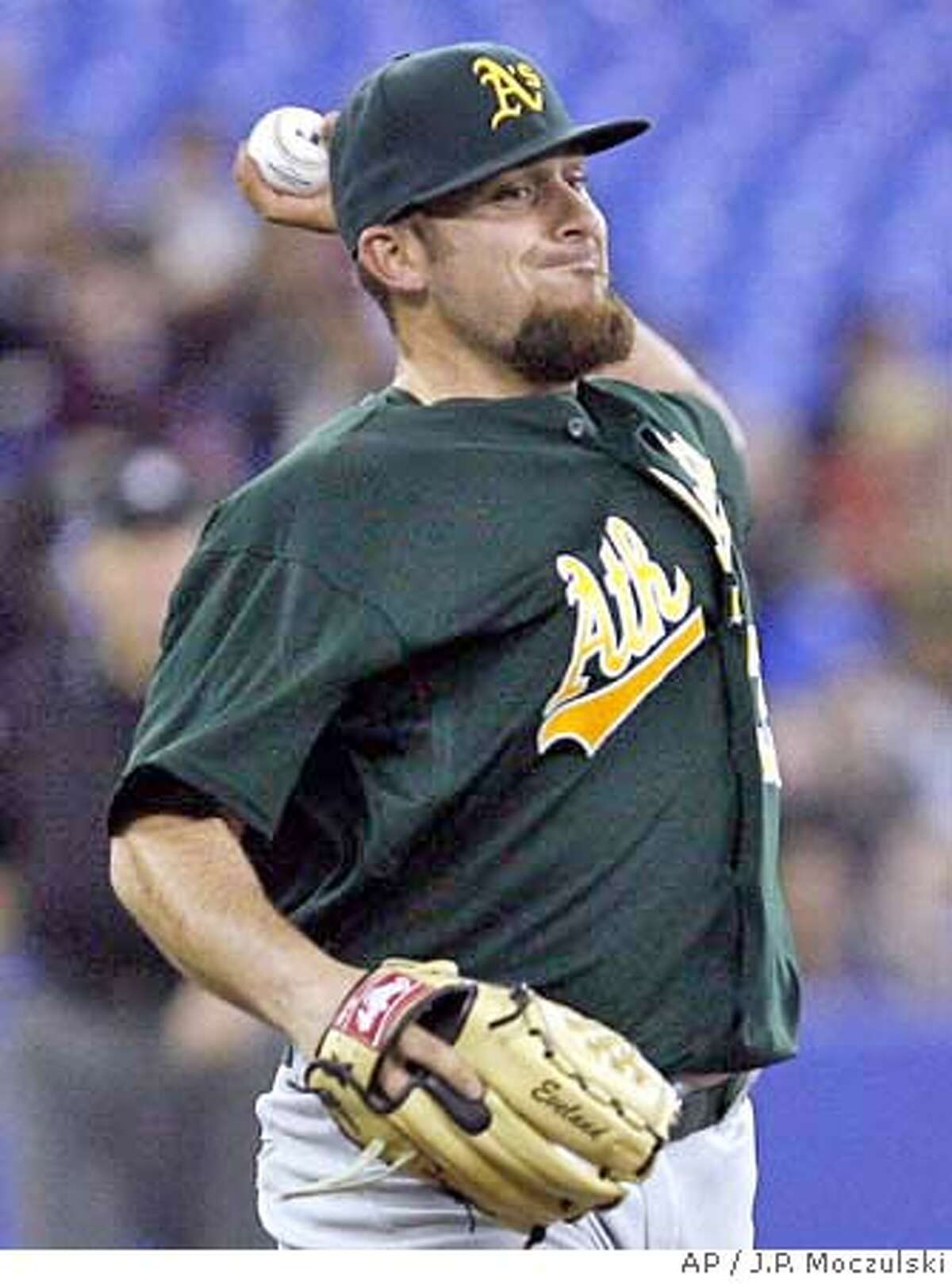 Oakland Athletics starter Dana Eveland throws back to first base during the fourth inning of an MLB baseball game against the Toronto Blue Jays in Toronto, Thursday, April 10, 2008. (AP Photo/The Canadian Press, J.P. Moczulski)