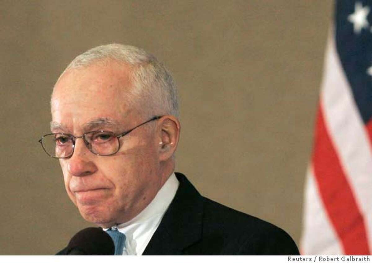 ###Live Caption:U.S. Attorney General Michael Mukasey pauses while recounting the September 11, 2001 attacks on New York City, during his address to the Commonwealth Club in San Francisco, California March 27, 2008. Mukasey discussed efforts to investigate and prosecute public corruption. REUTERS/Robert Galbraith (UNITED STATES)###Caption History:U.S. Attorney General Michael Mukasey pauses while recounting the September 11, 2001 attacks on New York City, during his address to the Commonwealth Club in San Francisco, California March 27, 2008. Mukasey discussed efforts to investigate and prosecute public corruption. REUTERS/Robert Galbraith (UNITED STATES)###Notes:U.S. Attorney General Michael Mukasey pauses during speech in San Francisco###Special Instructions:0
