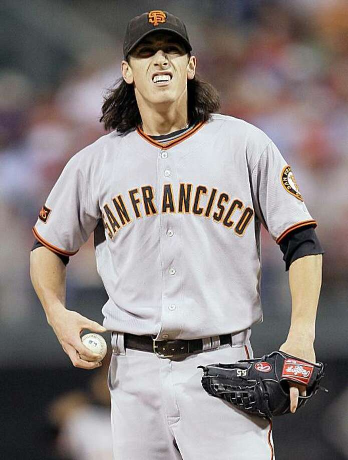 San Francisco Giants' Tim Lincecum reacts while pitching against the Philadelphia Phillies in the second inning of a baseball game, Thursday, Sept. 3, 2009, in Philadelphia. (AP Photo/Matt Slocum) Photo: Matt Slocum, AP
