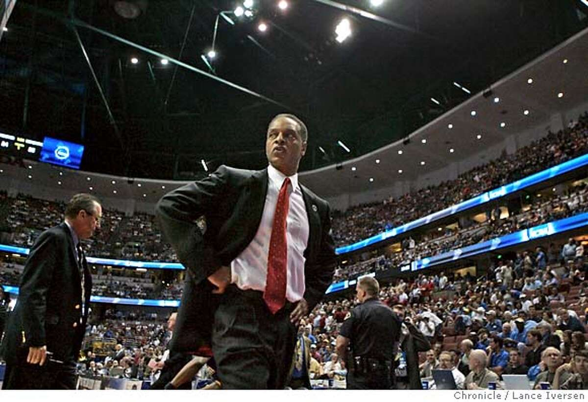 Stanford's head coach Trent Johnson walks off the court after being ejected from the game and receiving double technical fouls in the first half. Stanford defeated Marquette in OT 82-81 in the second round of the NCAA men's basketball tournament Saturday March 22, 2008 in Anaheim Calif. By Lance Iversen / San Francisco Chronicle.