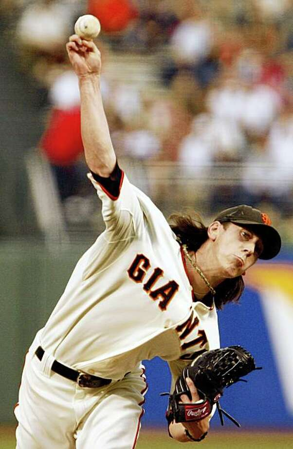 San Francisco Giants' Tim Lincecum works against the Colorado Rockies during the first inning of a baseball game Friday, Aug. 28, 2009, in San Francisco. (AP Photo/Ben Margot) Photo: Ben Margot, AP