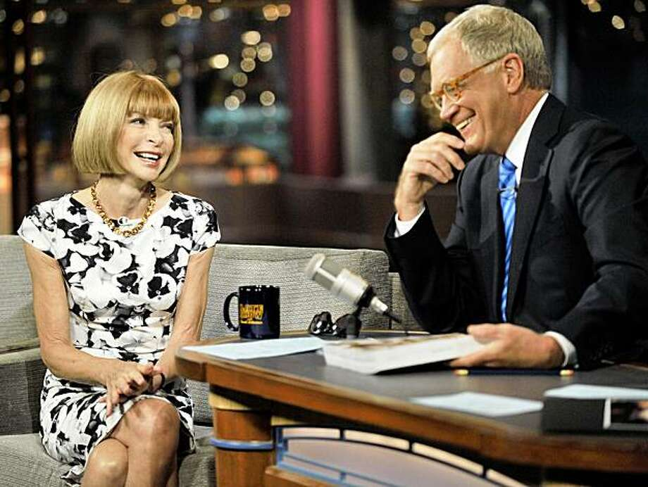 "In this photo released by CBS, Vogue editor Anna Wintour talks with host David Letterman in New York, Monday, Aug. 24, 2009, during taping of the ""Late Show with David Letterman.""  (AP Photo/CBS, John Paul Filo) ** MANDATORY CREDIT; NO ARCHIVE; NO SALES; FOR NORTH AMERICAN USE ONLY ** Photo: John Paul Filo, AP"