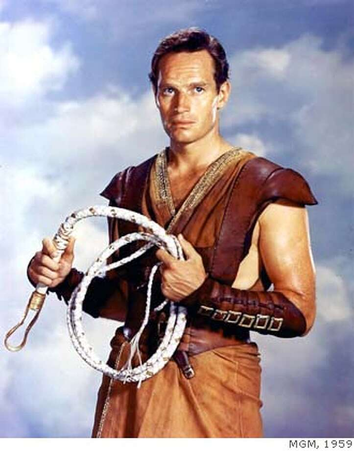 "(NYT7) UNDATED -- April 6, 2008 -- OBIT-HESTON-7 -- Charton Heston in the title role in ""Ben-Hur."" Heston, who appeared in some 100 films in his 60-year acting career but who is remembered chiefly for his monumental, jut-jawed portrayals of Moses, Ben-Hur and Michelangelo, died Saturday night, April 5, 2008, at his home in Beverly Hills, Calif. He was 84, according to his family. (MGM via The New York Times) EDITORIAL USE ONLY - MAGS OUT/NO SALES - FOR USE ONLY WITH STORY SLUGGED: OBIT-HESTON BY ROBERT BERKVIST - ALL OTHER USE PROHIBITED Photo: MGM"