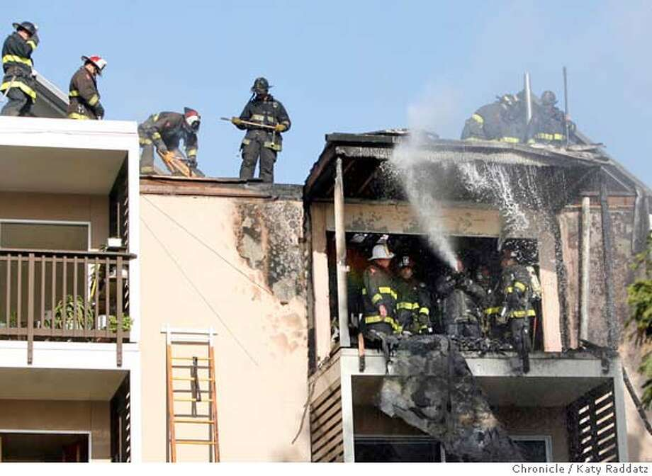 ###Live Caption:Fire in a top floor apartment in St. Francis Square, a large cooperative housing complex at 35 Lottie Bennett Ln. in San Francisco, Calif. on Monday, April 7, 2008. Some residents, who refused to be named, said there had been complaints many times about the drug-dealing that went on in that apartment.  Photo by Katy Raddatz / San Francisco Chronicle###Caption History:Fire in a top floor apartment in St. Francis Square, a large cooperative housing complex at 35 Lottie Bennett Ln. in San Francisco, Calif. on Monday, April 7, 2008. Some residents, who refused to be named, said there had been complaints many times about the drug-dealing that went on in that apartment.  Photo by Katy Raddatz / San Francisco Chronicle###Notes:###Special Instructions:MANDATORY CREDIT FOR PHOTOG AND SAN FRANCISCO CHRONICLE/NO SALES-MAGS OUT Photo: KATY RADDATZ
