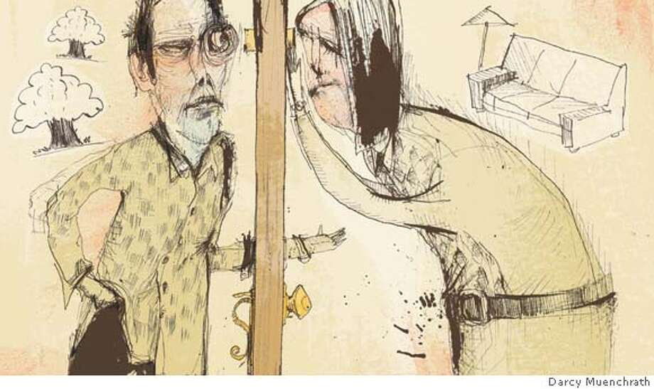 Illustration by Darcy Muenchrath for MY WORD essay on an annoying homeless person who keeps showing up at the suthor's home; runs in 4/13/08 issue of Sunday magazine. FIRST REPRO RIGHTS ONLY; OK to post on sfgate with article Photo: Darcy Muenchrath