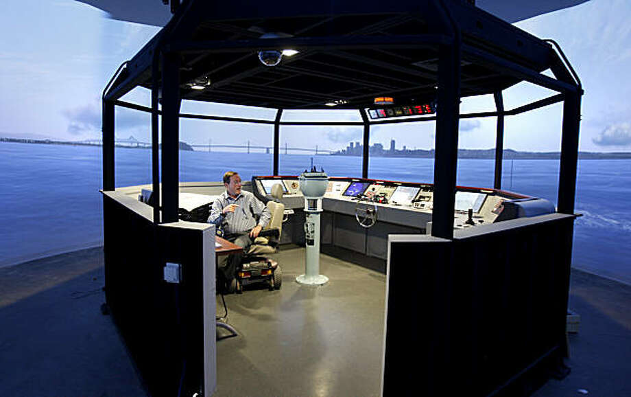 The college employs two 360 degree simulators for students which can duplicate sailing conditions in many ports around the world. The California Maritime Academy uses a state-of-the-art ship handling simulator for students interested in a career on a ship's bridge or engineering specialty. Photo: Brant Ward, The Chronicle