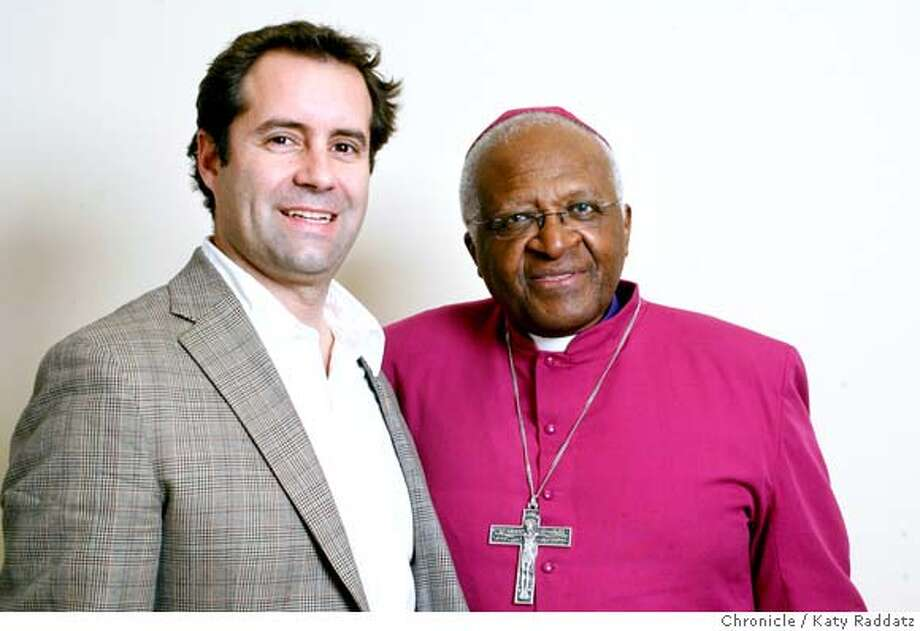 Mark Tauber, left, the 39-year-old publisher at HarperOne, the religious imprint of HarperCollins, has just signed Archbishop Desmond Tutu, right, to write a book about the Bible. They met briefly at Grace Cathedral, in San Francisco, Calif. on Tuesday, April 8, 2008.  Photo by Katy Raddatz / San Francisco Chronicle Photo: KATY RADDATZ