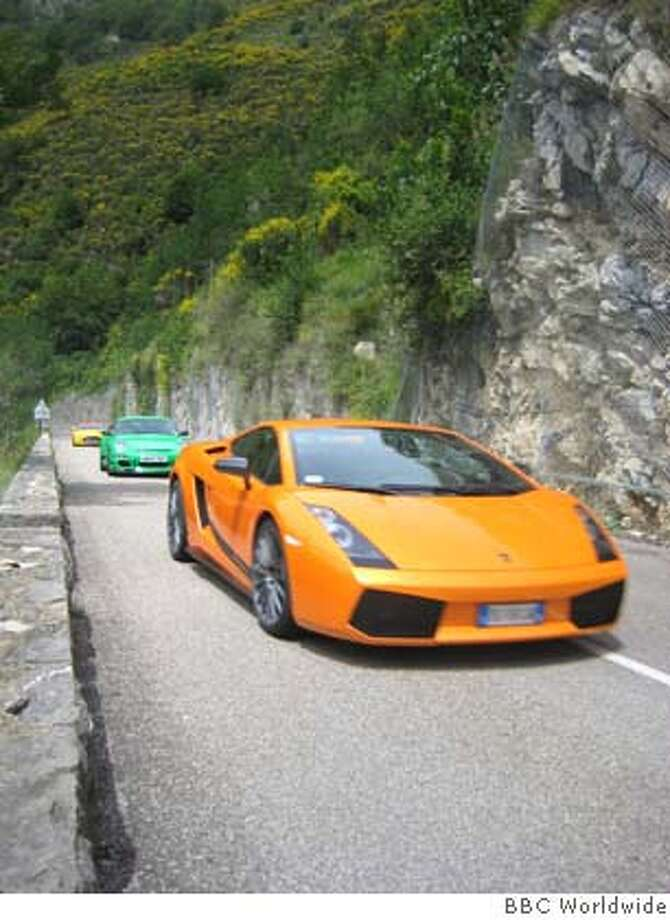 BBC AMERICA's Emmy-winning car show, TOP GEAR, during Episode 1. The Top Gear hosts take a Lamborghini, Porsche and an Aston Martin on a transcontinental trip to find the best driving road.  courtesy of BBC Worldwide/handout Photo: BBC Worldwide