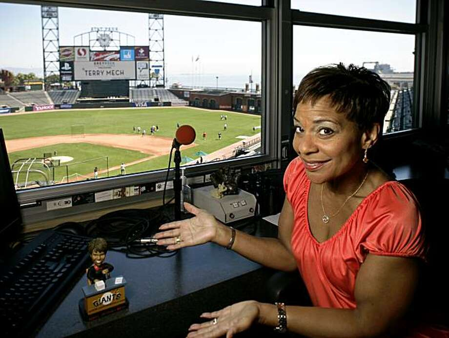 Renel Brooks-Moon, seen sitting in her workspace at ATT Park in San Francisco, Calif. on Friday, Aug. 21, 2009, is the SF Giants PA announcer. Photo: Russell Yip, The Chronicle