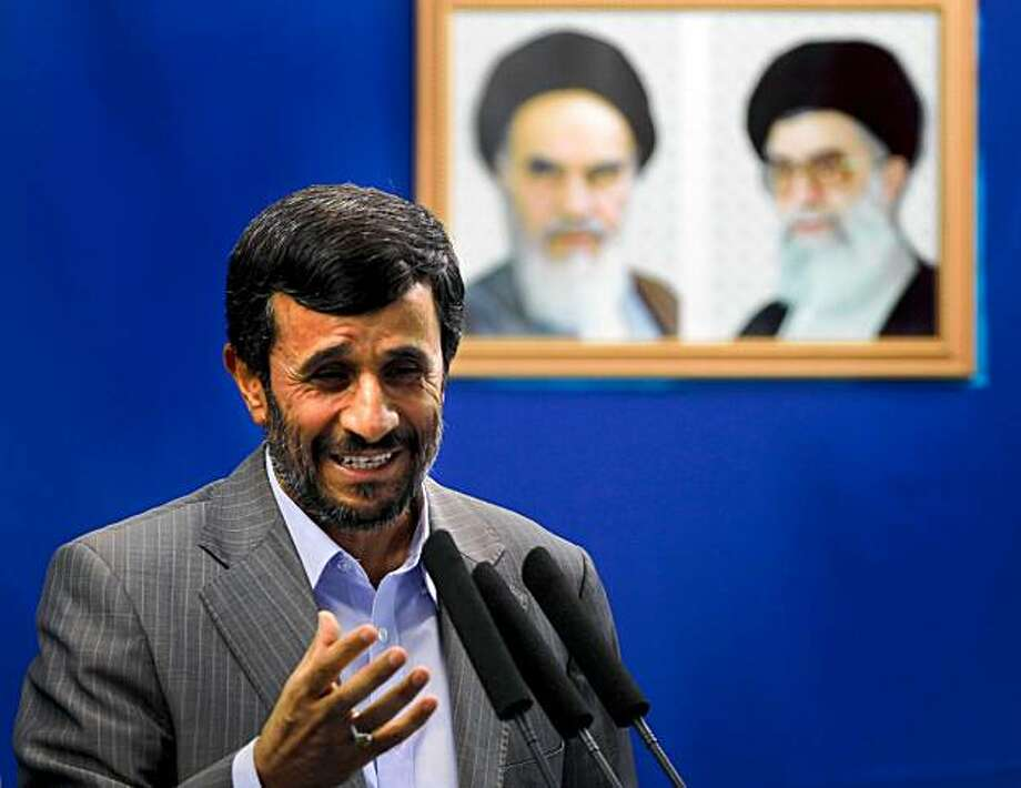 Iranian President Mahmoud Ahmadinejad delivers a speech during the weekly Friday prayers at Tehran University in the Iranian capital on August 28, 2009. Ahmadinejad called for the first time for the punishment of opposition leaders over the unrest unleashed by his disputed re-election. AFP PHOTO/BEHROUZ MEHRI (Photo credit should read BEHROUZ MEHRI/AFP/Getty Images) Photo: Behrouz Mehri, AFP/Getty Images