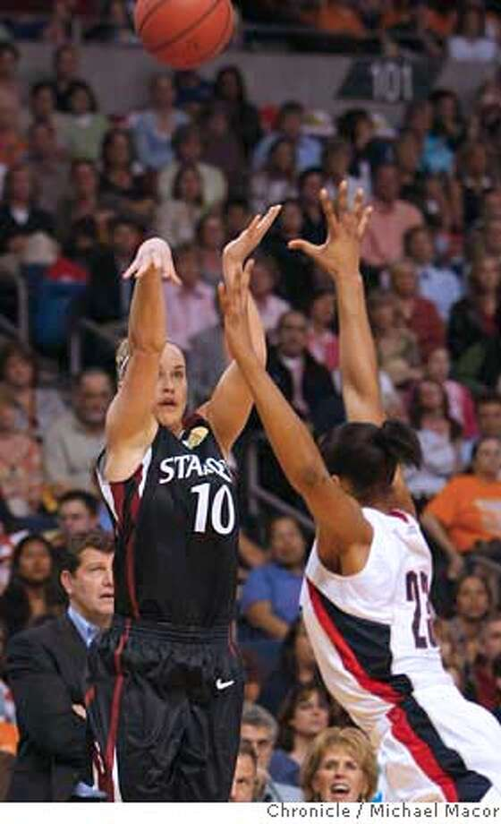 ###Live Caption:Stanford's JJ Hones shoots a three pointer over Connecticut's Maya Moore in the first half of the NCAA semi finals in Tampa, Florida on April 6, 2008.  Photo by Michael Macor/ San Francisco Chronicle###Caption History:Stanford's JJ Hones shoots a three pointer over Connecticut's Maya Moore in the first half of the NCAA semi finals in Tampa, Florida on April 6, 2008.  Photo by Michael Macor/ San Francisco Chronicle###Notes:The Women's NCAA Final Four Basketball Tournament in Tampa, Florida. The Stanford Cardinal women to take on University of Connecticut on April 6, 2008, in the first game of the semi finals.###Special Instructions:Mandatory credit for Photographer and San Francisco Chronicle No sales/ Magazines Out Photo: Michael Macor