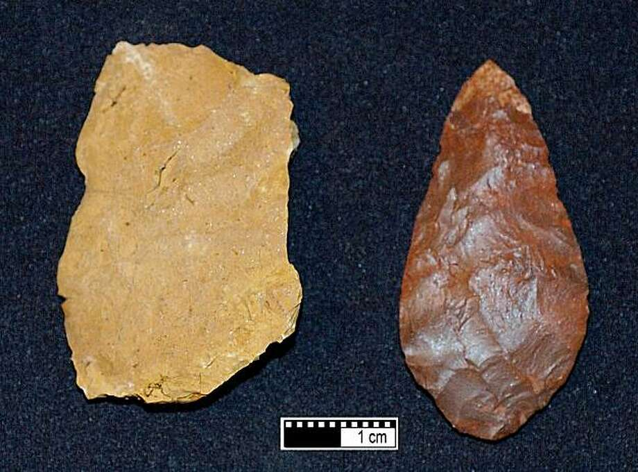 A rough chunk of yellowish rock called silcrete can be treated by extreme heat that changed is color and texture so Stone Age people could manufacture their uniquely sharp-edged and durable stone tools.Scientists duplicated the process to show how it was done. Photo: Kyle Brown, South African Paleoanthropology