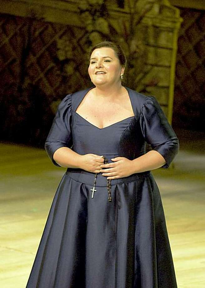 """Margaret Gawrysiak as Joan of Arc in an aria from Tchaikovsky's """"Maid of Orleans"""" during the 2009 Merola Opera Program's Grand Finale Photo: Kristen Loken Anstey"""